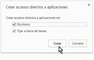 Accesos directos y botón para crearlos en cómo configurar las extensiones de Chrome