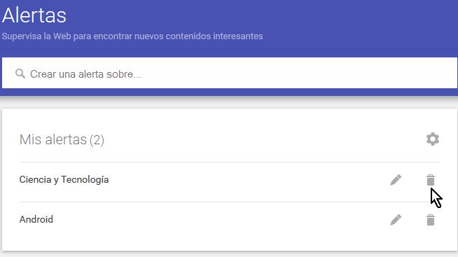 Botón para borrar una alerta de Google en cómo eliminar alertas de Google