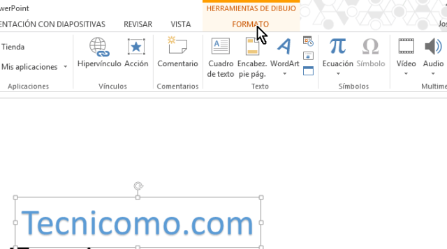Pestaña de FORMATO en en cómo insertar WordArt en Microsoft PowerPoint