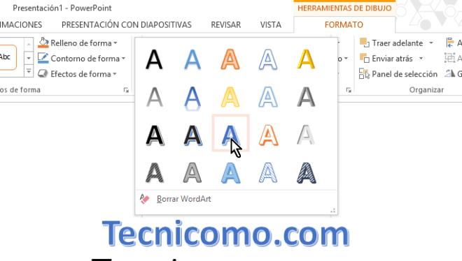 Cambiando el WordArt en en cómo insertar WordArt en Microsoft PowerPoint