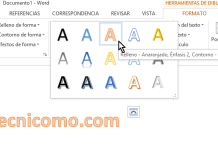 Nuevo estilo de WordArt seleccionado en cómo insertar WordArt en Microsoft Word
