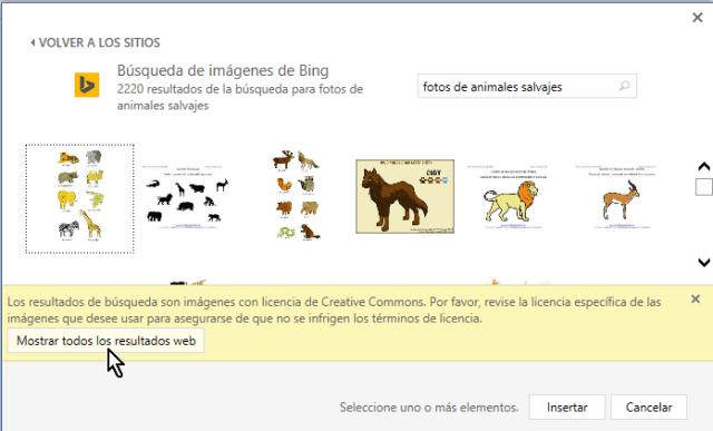 Botón para mostrar todos los resultados de la búsqueda de imágenes en Microsoft Word