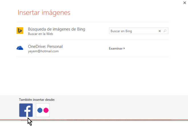 Botón para hallar imágenes de Facebook en cómo insertar imágenes en PowerPoint