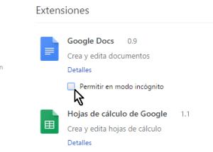 Cómo permitir extensiones de Chrome en modo incógnito