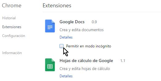 Casilla para habilitar la extensión en modo incógnito en cómo permitir extensiones de Chrome en modo incógnito