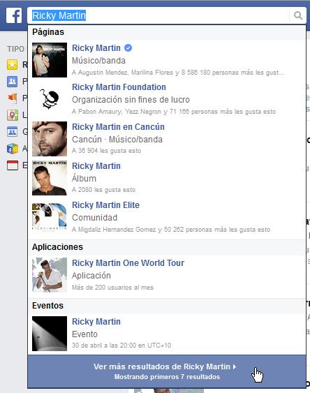 Búsqueda de una página de Facebook en cómo saber si una página de Facebook es oficial