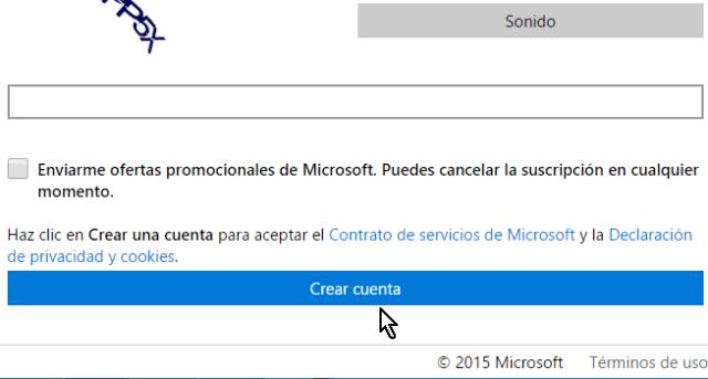 Botón para crear cuenta de Microsoft PowerPoint online
