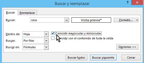Casilla de coincidencia de mayúsculas y minúsculas en cómo buscar texto en Excel
