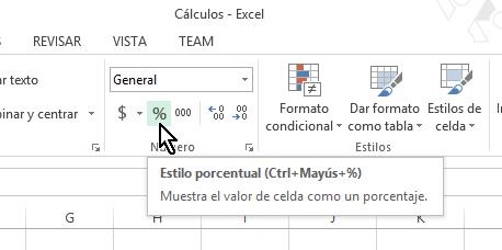 Botón de estilo porcentual en cómo calcular porcentajes con Excel