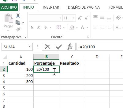 Fórmula para calcular porcentaje diviendo entre 100 en cómo calcular porcentajes con Excel