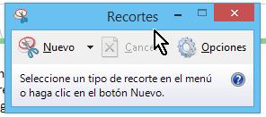 Pantallazo de la aplicación Recortes en cómo hacer captura de pantalla de una ventana