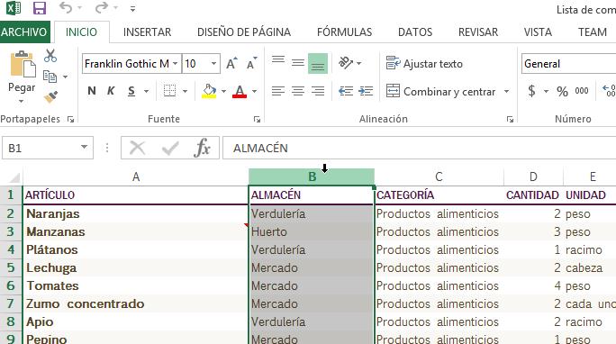 Selección de la columna a ocultar en cómo ocultar y mostrar columnas en Excel