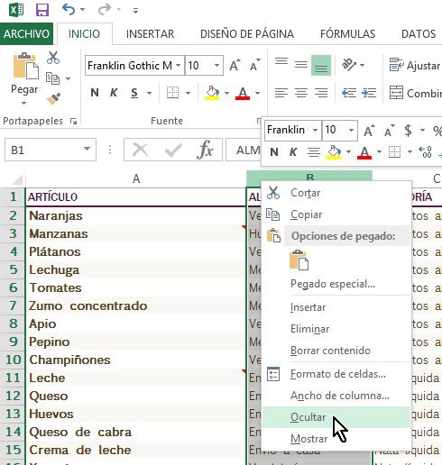 Opción del menú para ocultar columna en cómo ocultar y mostrar columnas en Excel