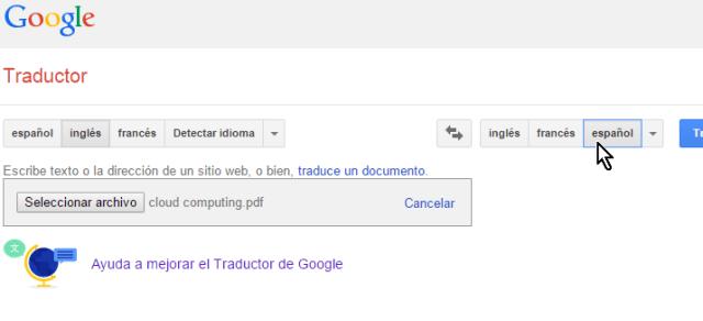Botón del idioma a traducir el documento en cómo traducir documentos con el traductor de Google