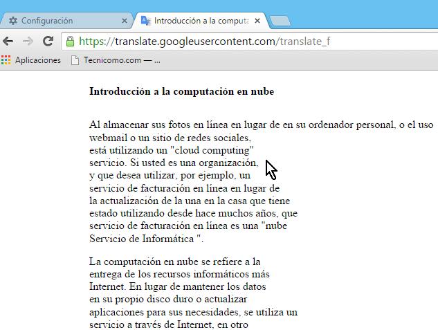 Documento de cloud computing traducido como ejemplo en cómo traducir documentos con el traductor de Google