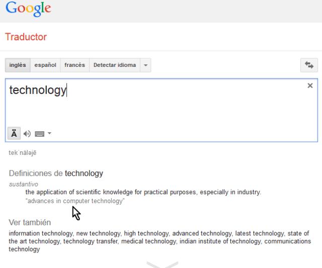 Ejemplo del diccionario aplicado a la palara traducida al inglés en cómo usar el traductor de Google de diccionario