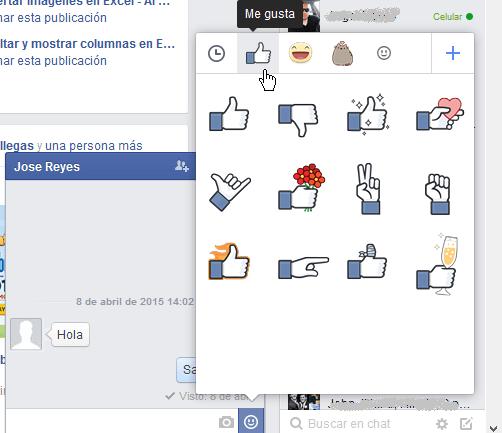 Varios stickers para expresar Me gusta o Like en cómo usar los stickers de Facebook
