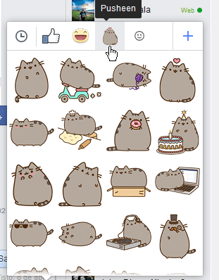 Stickers de Pusheen o de gatos en cómo usar los stickers de Facebook
