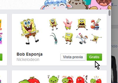 Botón Gratis para instalar más stickers en cómo usar los stickers de Facebook