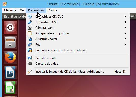 Opción Dispositivos en cómo compartir el portapapeles en VirtualBox