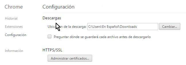 Sección para configurar descargas en cómo configurar Chrome para preguntarme antes de descargar un archivo