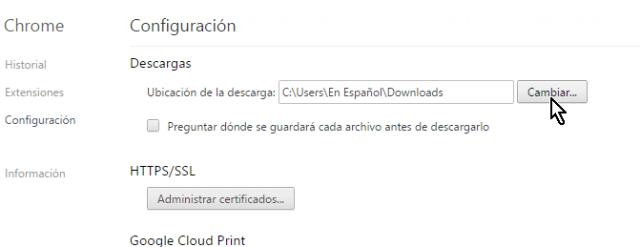 Botón para cambiar la carpeta de descarga por defecto en cómo configurar Chrome para preguntarme antes de descargar un archivo