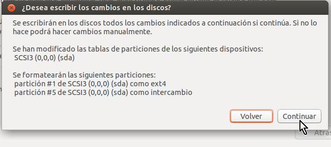 Botón para confirmar instalación en cómo crear una máquina virtual de Ubuntu en VirtualBox