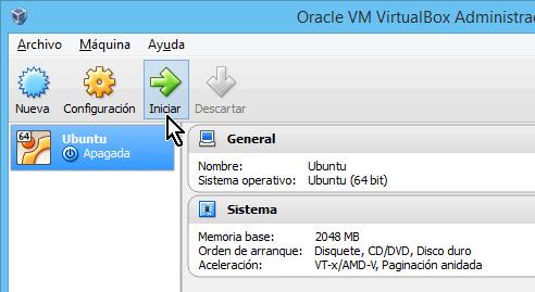 Botón para Iniciar la máquina virtual en cómo crear una máquina virtual de Ubuntu en VirtualBox