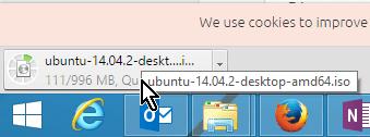 Progreso de la descarga del ISU de Ubuntu en cómo descargar Ubuntu ISO en español gratis