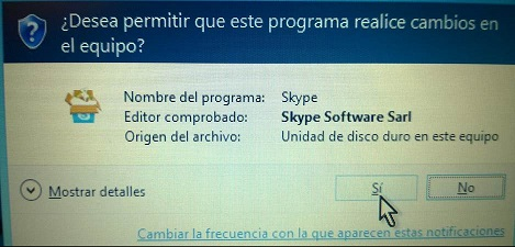 Botón para permimit instalación de Skype para Escritorio en cómo descargar e instalar Skype en Windows 8