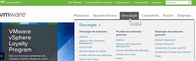 Pestaña Descargas en la págian de VMWare en español en cómo descargar e instalar VMWare en español
