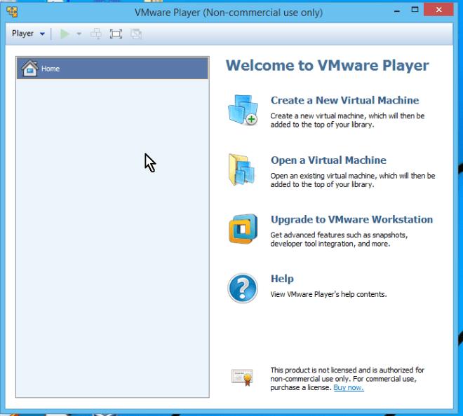 Ventana principal del programa VMWare Player en cómo descargar e instalar VMWare en español