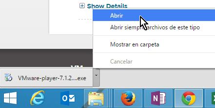 Abriendo el archivo descargado de VMWare Player en cómo descargar e instalar VMWare en español
