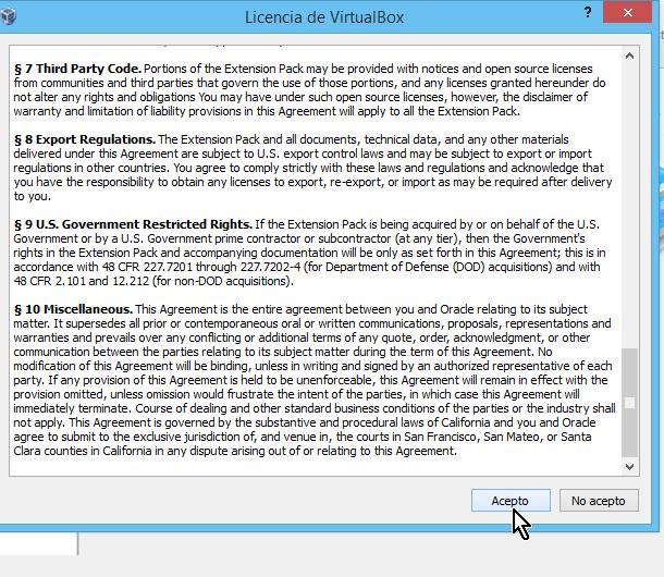 Licencia de uso del paquete de extensión de VirtualBox en cómo descargar e instalar VirtualBox Extension Pack