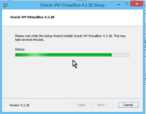 Barra mostrando progreso de la instalación de VirtualBox en cómo descargar e instalar VirtualBox en español
