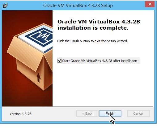 Botón para finalizar la instalación de VirtualBox en cómo descargar e instalar VirtualBox en español