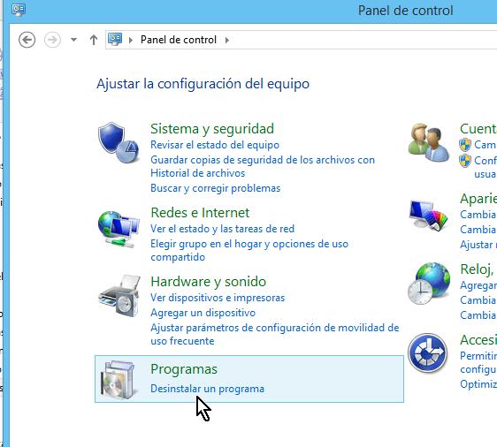 Opción Deinstalar programas del Panel de control de Windows 8 en cómo desinstalar un programa en Windows 8