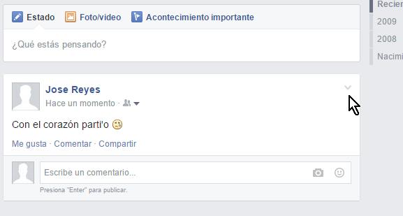 Flechita para mostrar el menú de opciones para publicaciones en cómo eliminar una publicación en mi muro de Facebook