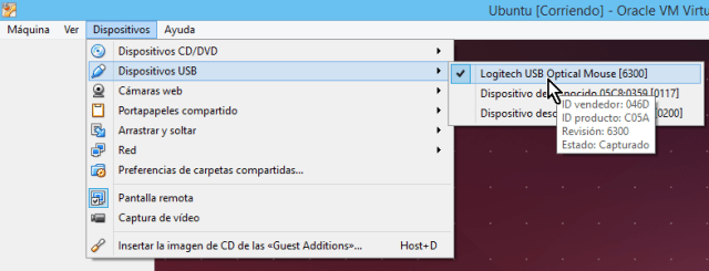 Lista con los dispositivos USB disponibles desde el menú principal en cómo habilitar dispositivos USB en VirtualBox