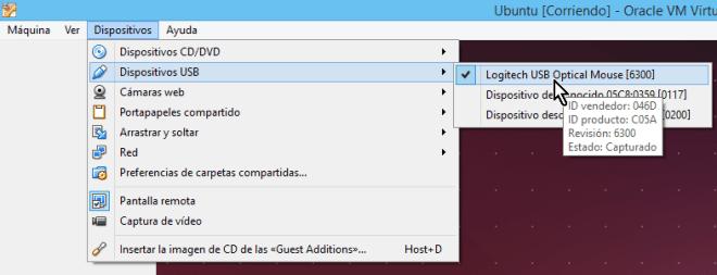 Lista con los dispositivos USB disponibles desde el menú principal en cómo habilitar dispositivos USB en VirtualBox