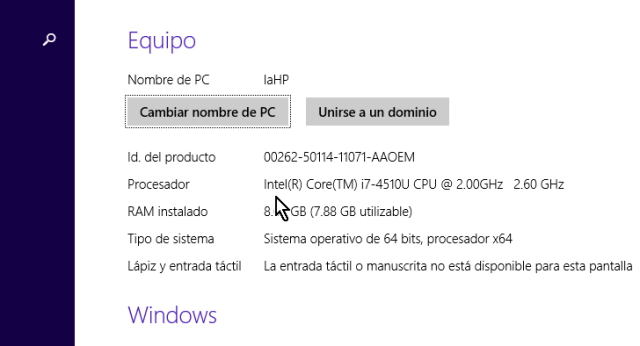 Pantalla con información de tu equipo y procesador en cómo habilitar máquinas virtuales de 64-bit para VirtualBox en Windows 8