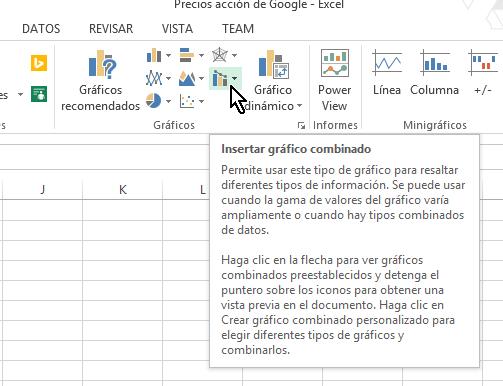 Botón Insertar gráfico combinado een cómo hacer una gráfica combinada en Excel 2013