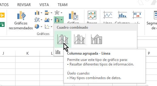 Botón para añadir gráfica Columna agrupada línea en cómo hacer una gráfica combinada en Excel 2013