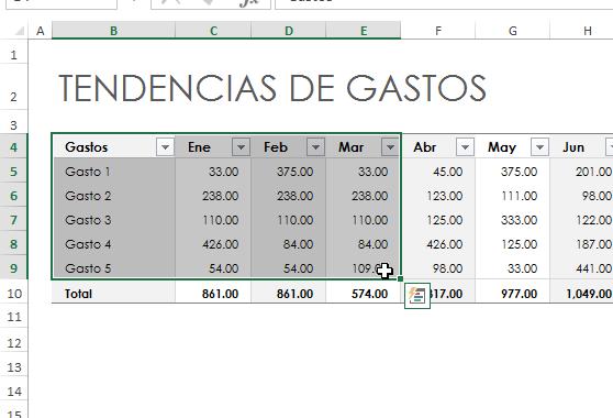 Selección de datos para la gráfica de dispersión en cómo hacer una gráfica de dispersión en Excel