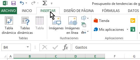 Pestaña Insertar en cómo hacer una gráfica de dispersión en Excel