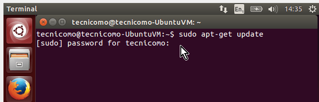 Ejecutando el comando update en Ubuntu en cómo instalar los Guest Additions de VirtualBox en Ubuntu