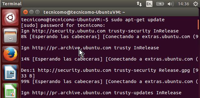 Pantalla muestra la ejecución del comando update en cómo instalar los Guest Additions de VirtualBox en Ubuntu