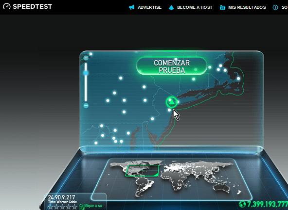 Localización y servidores cercanos en la prueba de velocidad en cómo medir la velocidad de tu Internet