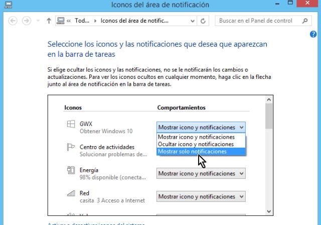 Íconos y comportamientos Flechita para menú de opciones de la barra de tareas en cómo ocultar el ícono de obtener Windows 10