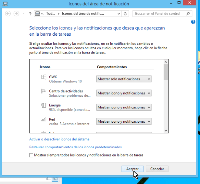 Botón Aceptar Flechita para menú de opciones de la barra de tareas en cómo ocultar el ícono de obtener Windows 10